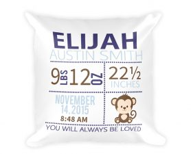 Monkey Birth Stat Pillow, Monkey Newborn Pillow, Monkey Nursery