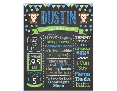Monkey Polka Dot Birthday Chalkboard Boy
