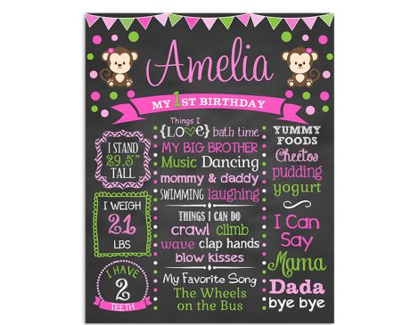 Monkey Polka Dot Birthday Chalkboard Girl