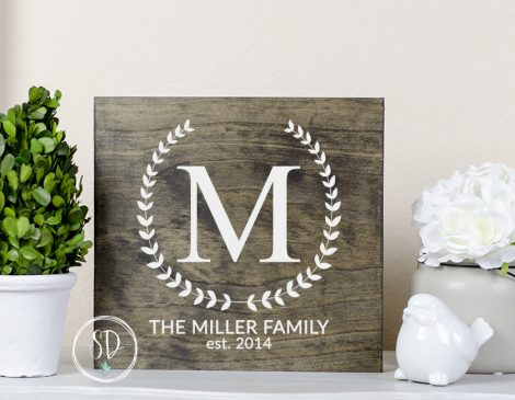 Monogram Dark Walnut Rustic Sign, Farmhouse Decor, Farmhouse Sign