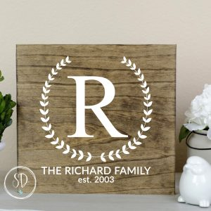 Monogram Family Farmhouse Wood Sign - Provincial