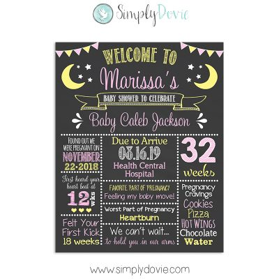 Moon and Stars Baby Shower Sign Girl, Moon & Stars Baby Shower, Baby Shower Decorations, Baby Shower Sign, Moon & Stars Baby Shower Decorations