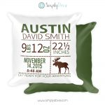 Woodland Moose Birth Announcement Pillow