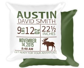 Moose Birth Announcement Pillow, Woodland Nursery, Birth Stats Pillow, Woodland Birth Stats Pillow