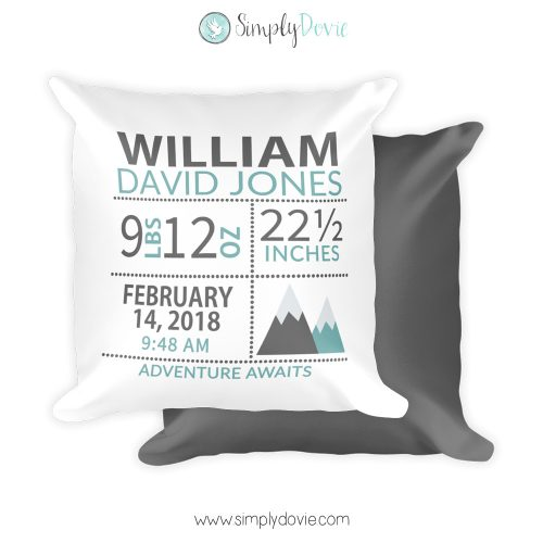 Mountains Newborn Birth Stats Pillow, Mountains Nursery Decor