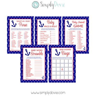 Nautical Anchor Baby Shower Games - Baby Word Scramble, Baby Bingo, Baby Animal Game, What's in Your Purse, Baby Price is Right