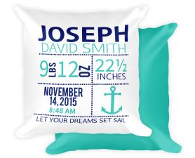 Nautical Anchor Birth AnnouncementPillow - Newborn Gift