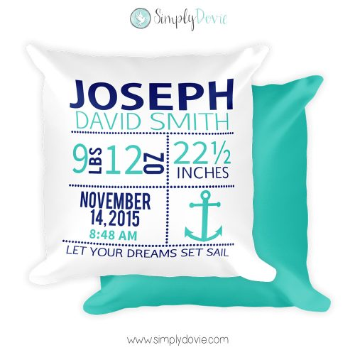 Nautical Birth Announcement Pillow, Personalized Nautical Anchor Newborn Birth Stats Pillow, Nautical Nursery, Baby Girl Gift, Newborn Gift