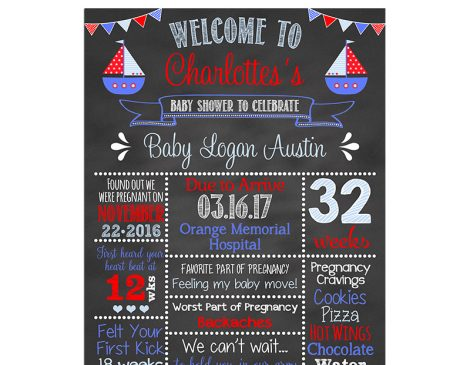 Nautical Baby Shower Chalkboard Sign