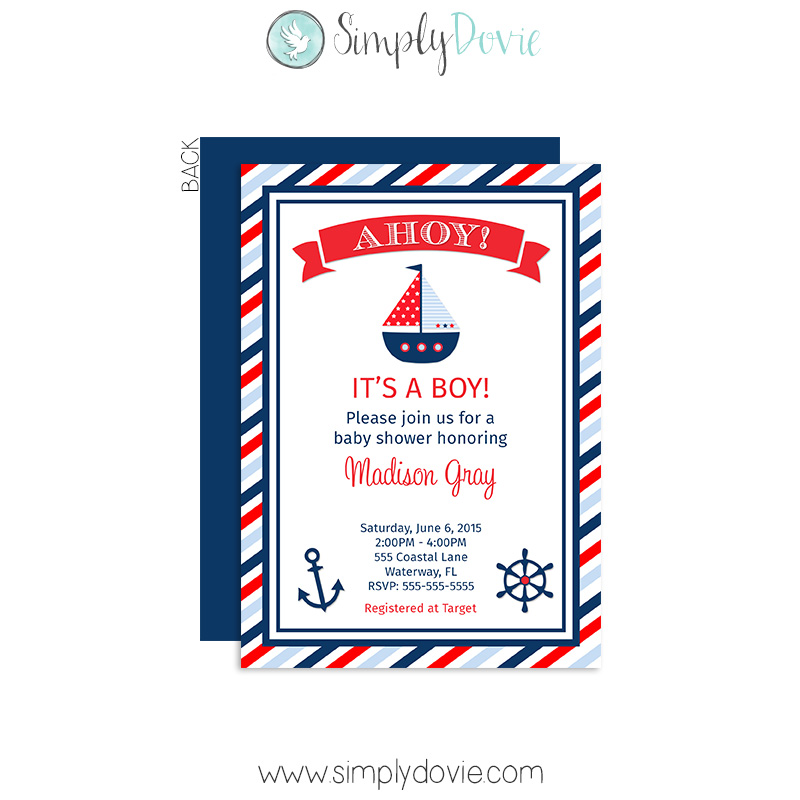 boy's nautical baby shower invitation, Baby shower invitations