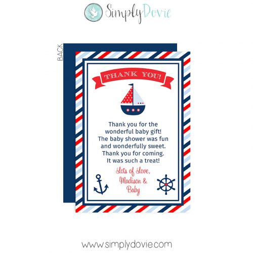 nautical baby shower,baby shower,nautical,thank you,thank you card,card,party,new baby,new mom