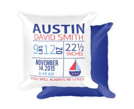 Nautical Newborn Birth Stats Pillow, Nautical, Newborn, Pillow, Nursery