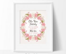 Floral Birth Stats Sign, Newborn Birth Details Sign, Birth Announcement