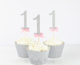 Silver Glitter Number 1 cupcake topper