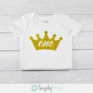 Gold Glitter Crown One Shirt,birthday,shirt,onsie,princess,first birthday