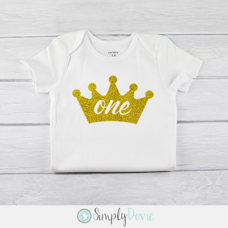 Gold Glitter Crown One Shirtbirthdayshirtonsieprincessfirst Birthday