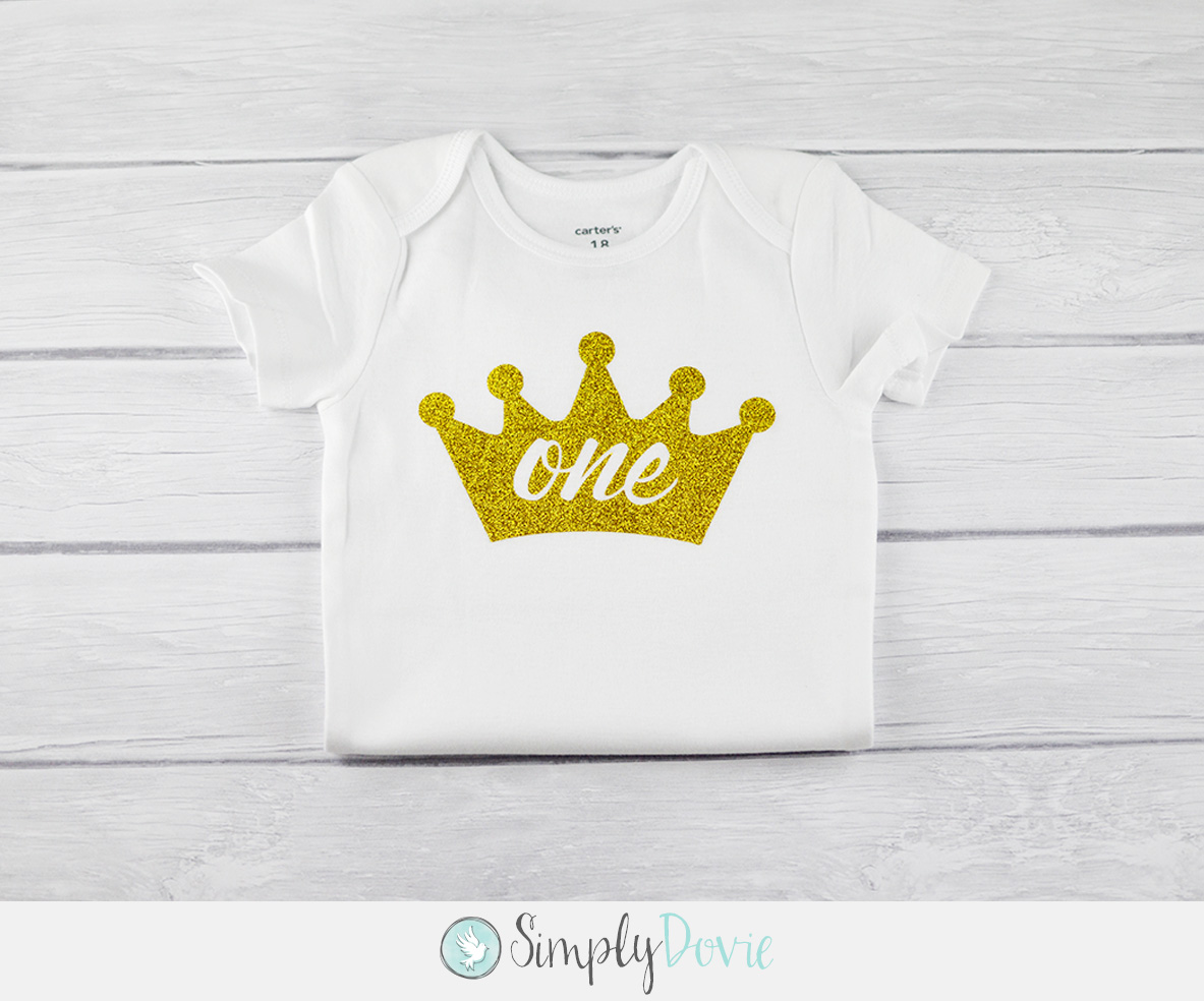 Gold Glitter Crown One Shirt Princess Birthday