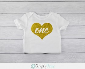 Gold Glitter One Heart Shirt,birthday,shirt,heart,gold,glitter,first,one year old