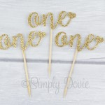 Gold Glitter One Cupcake Topper, First Birthday,cake,cupcake,topper,birthday,party
