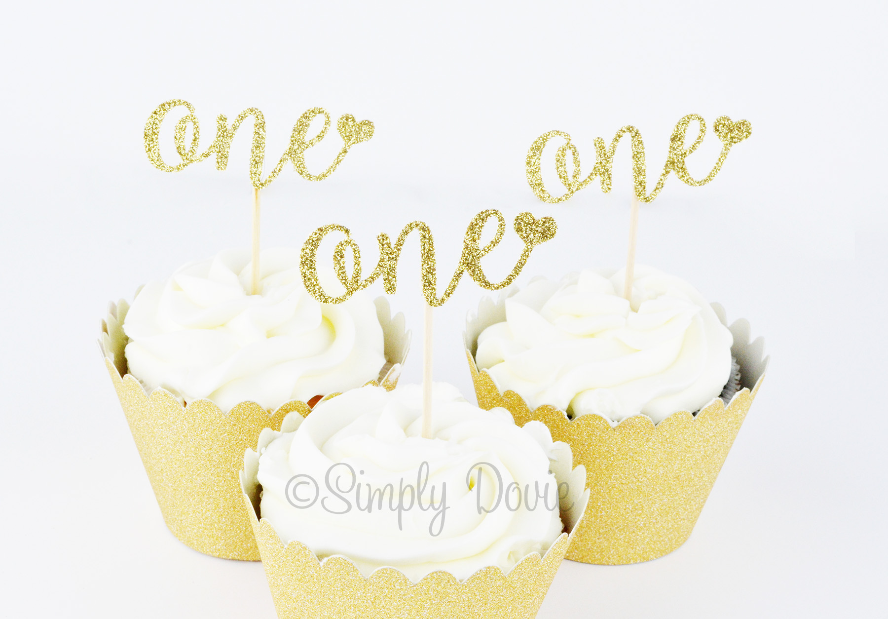 Enjoyable One Cupcake Topper Gold Glitter First Birthday Funny Birthday Cards Online Fluifree Goldxyz