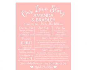 Blush Pink Bridal Shower Sign, Wedding Sign, Our Love Story Sign