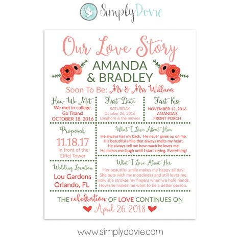 Floral Coral Bridal Shower Sign, Wedding Sign, Our Love Story Sign