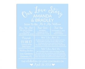 Light Blue Bridal Shower Sign, Wedding Sign, Our Love Story Sign