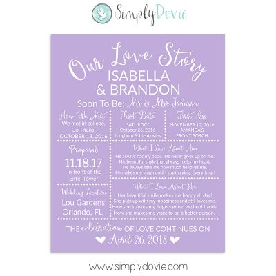 Light Purple Bridal Shower Sign, Wedding Sign, Our Love Story Sign