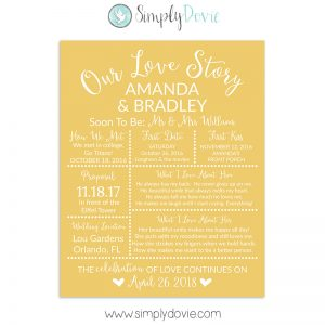 Mustard Bridal Shower Sign, Wedding Sign, Our Love Story Sign