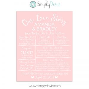 Pale Pink Bridal Shower Sign, Wedding Sign, Our Love Story Sign
