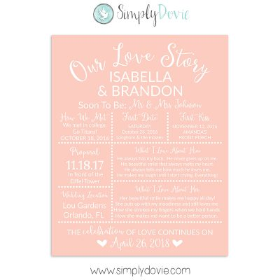 Peach Bridal Shower Sign, Wedding Sign, Our Love Story Sign
