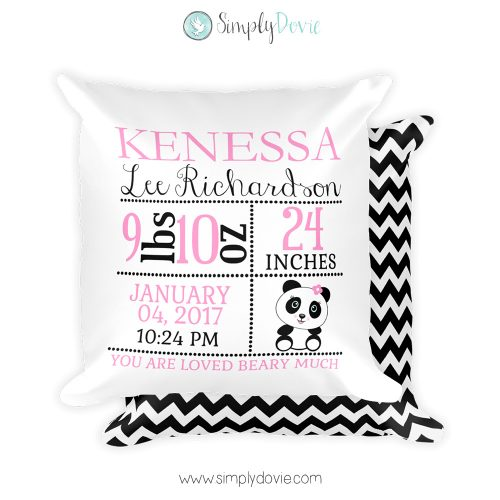 Panda Newborn Pillow, Panda, Birth Stats Pillow, Nursery decorations