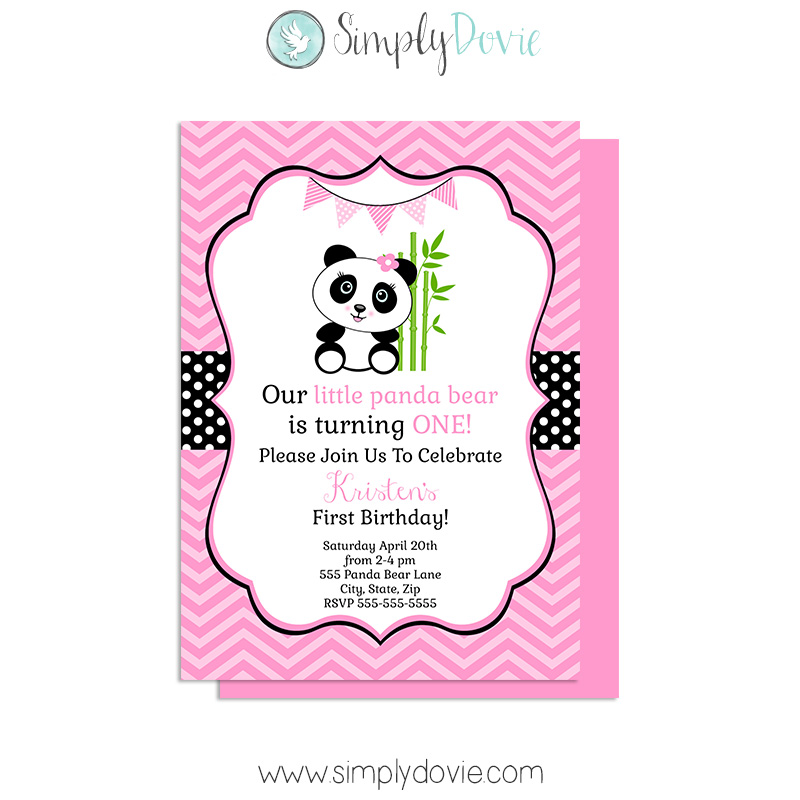 Girl Panda Birthday Invitations