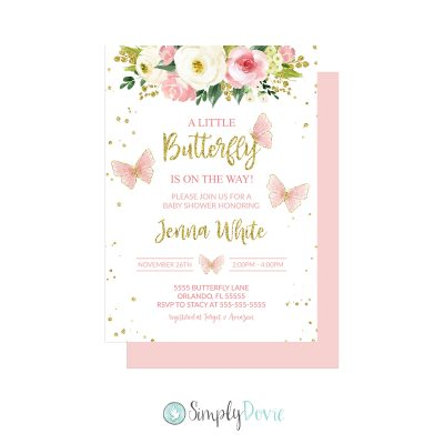 Pink Butterfly Baby Shower Invitations