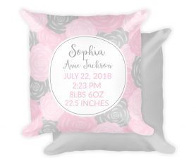 Floral Birth Stats Pillow, Birth Detail Pillow, Personalized Nursery Pillow, Custom Baby Pillow, Floral Nursery Pillow, Pink & Gray Nursery