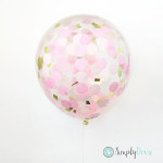 confetti balloons,clear balloons,party balloons,wedding balloons,confetti balloon,pink & gold balloon