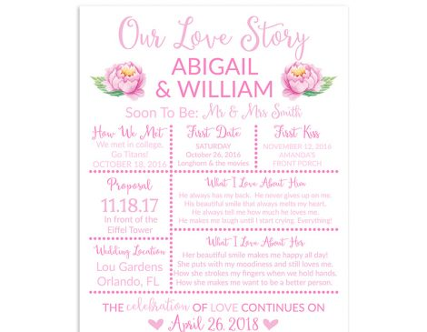 Pink Rose Bridal Shower Sign, Wedding Sign, Our Love Story Sign