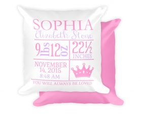 Princess Newborn Birth Stat Pillow