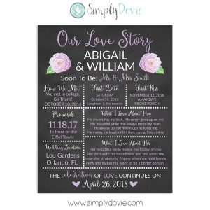 Purple Rose Bridal Shower Chalkboard Sign, Wedding Sign, Our Love Story Sign