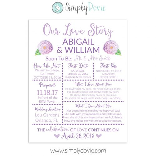 Purple Rose Bridal Shower Sign, Wedding Sign, Our Love Story Sign