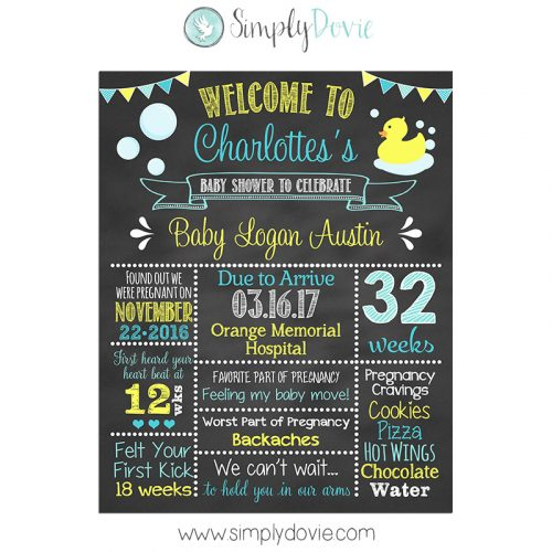 Rubber Ducky Baby Shower Chalkboard