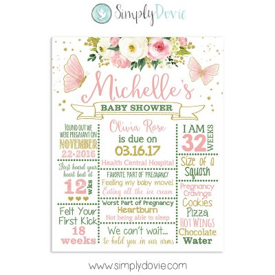 Butterfly Baby Shower Sign