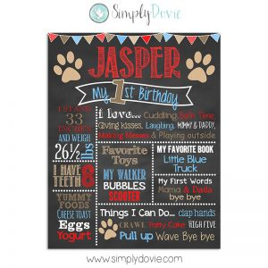 Puppy Dog Birthday Chalkboard