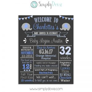 Elephant Baby Shower Chalkboard Sign