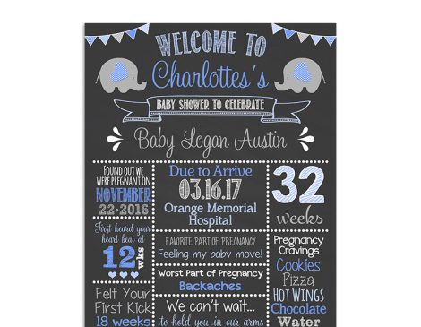Elephant Baby Shower Chalkboard Sign, Elephant baby shower decorations