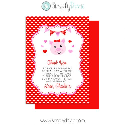 Hogs & Kisses Birthday Thank You Card