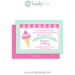 Ice Cream Shoppe Birthday Invitations