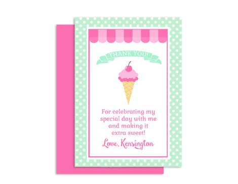 Ice Cream Shoppe Thank You Cards