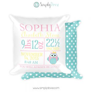 Owl Birth Stat Pillow, Owl Nursery Decor, Owl Newborn Pillow