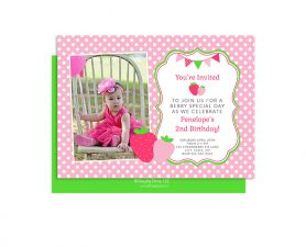 Strawberry Birthday Invitation